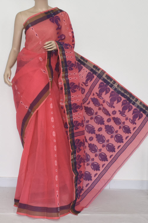 Peach Handwoven Bengali Tant Cotton Saree (Without Blouse) 14073