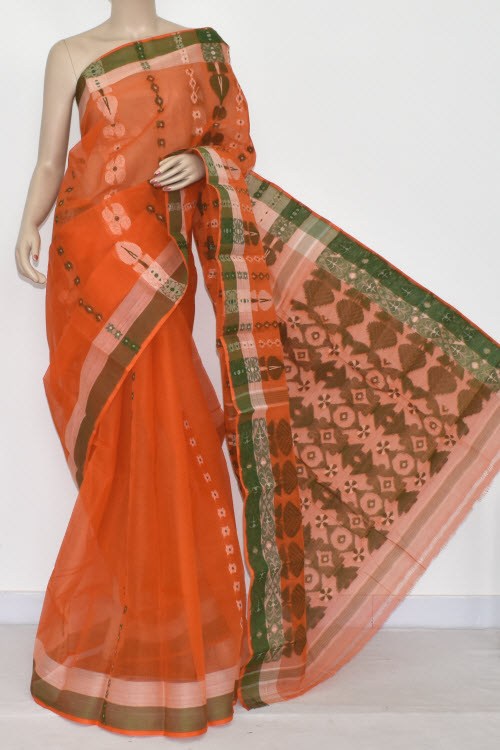 Orange Handwoven Bengali Tant Cotton Saree (Without Blouse) 14076