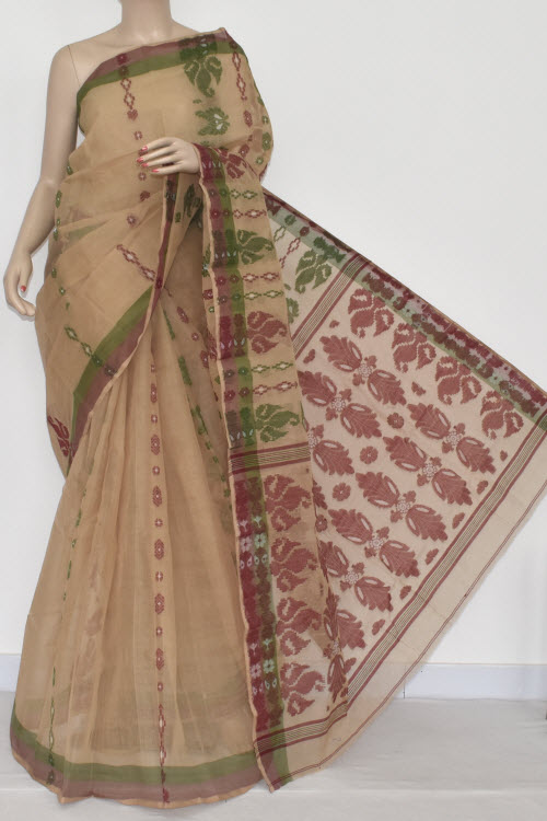 Fawn Handwoven Bengali Tant Cotton Saree (Without Blouse) 14080