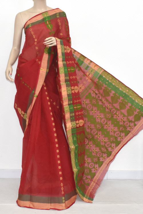 Red Handwoven Bengali Tant Cotton Saree (Without Blouse) 14082