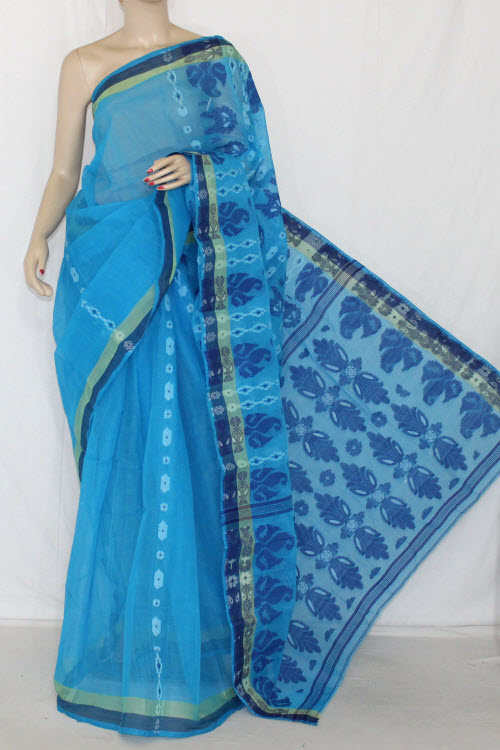 Pherozi Blue Handwoven Bengali Tant Cotton Saree (Without Blouse) 14084