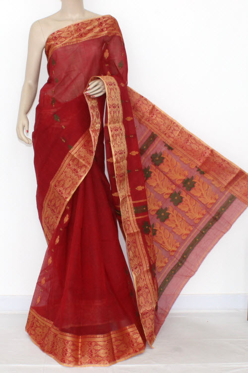 Red Handwoven Bengali Tant Cotton Saree (Without Blouse) Golden zari Border 14092