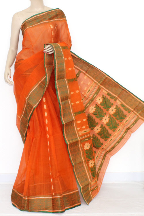 Orange Handwoven Bengal Tant Cotton Saree (Without Blouse) 14094