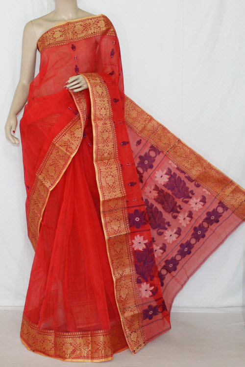 Orange Handwoven Bengali Tant Cotton Saree (Without Blouse) 14095