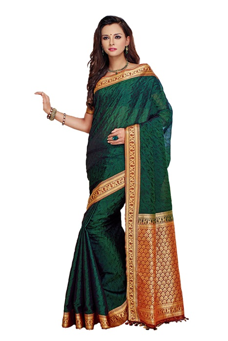 Dark Green Zari border Saree With Golden Palla in Cotton Silk