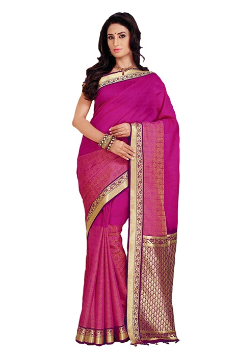 Breathtaking Saree in Dark Pink With Zari Woven