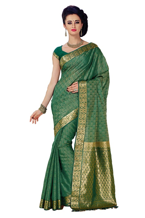 Zari Woven Border, Green Color Saree in Pure Cotton Silk