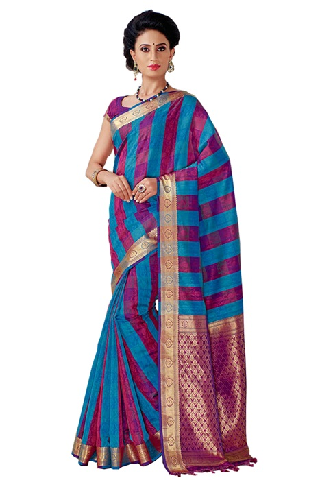 Cotton Silk in Zari Woven in Sky Blue and Rani Pink