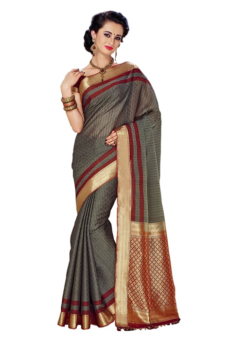 Grey Saree With Zari Woven Border In Pure cotton Silk