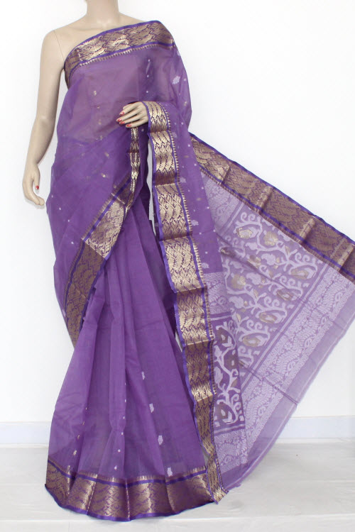 Lavender Handwoven Bengali Tant Cotton Saree (Without Blouse) Zari Border 14106