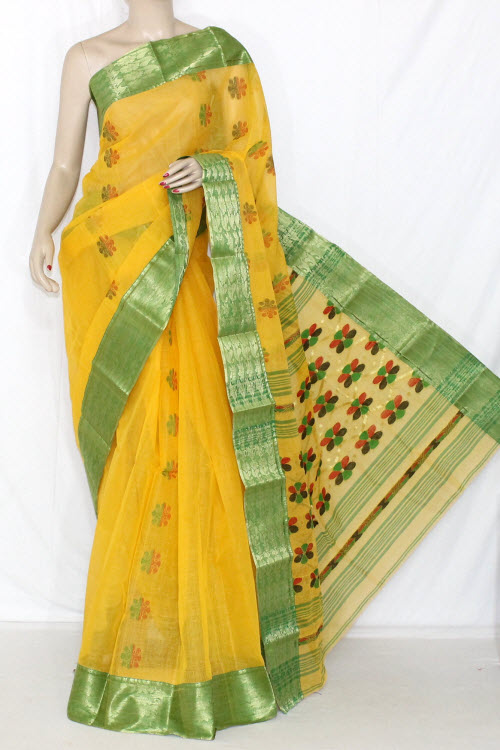 Yellow Green Handwoven Bengali Tant Cotton Saree Zari Border (Without Blouse) 14107