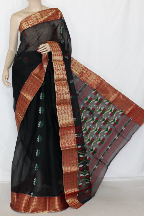 Black Handwoven Bengali Tant Cotton Saree (Without Blouse) Zari Border 14110