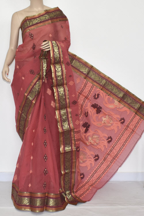 Dark Brown (Katthai Color) Handwoven Bengali Tant Cotton Saree (Without Blouse) 14114