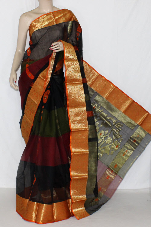 Black (Orange Border) Handwoven Bengali Tant Cotton Saree (With Blouse) Zari Border 14116