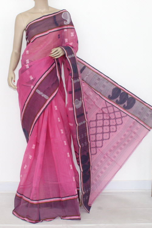 Pink Grey Handwoven Bengali Tant Cotton Saree (Without Blouse) 14119