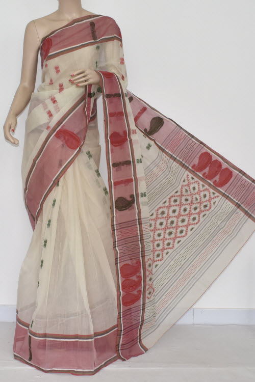 Off White Handwoven Bengali Tant Cotton Saree (Without Blouse) 14120