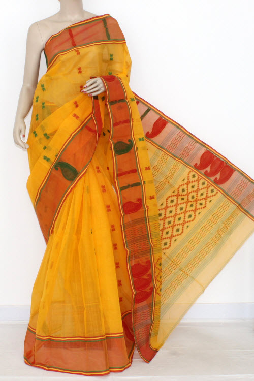 Deep Yellow Red Handwoven Bengali Tant Cotton Saree (Without Blouse) 14121