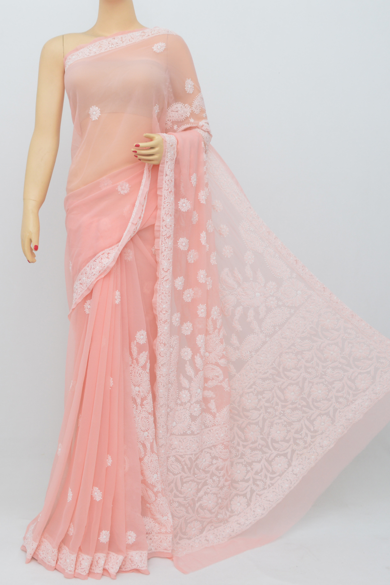 Rose Color, Hand Embroidered Work Lucknowi Chikankari Saree (With Blouse - Georgette) SS250551