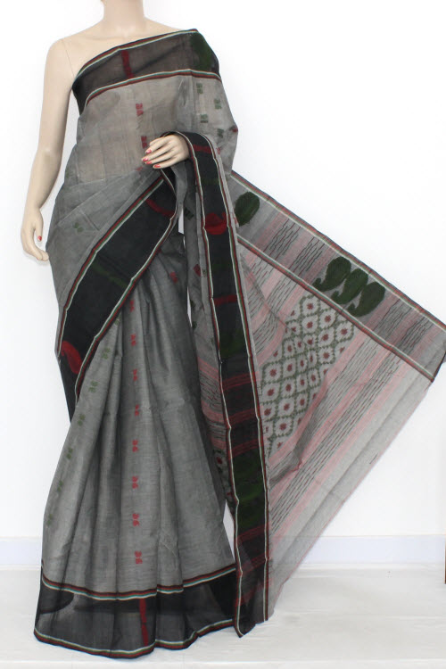 Grey Black Handwoven Bengali Tant Cotton Saree (Without Blouse) 14122