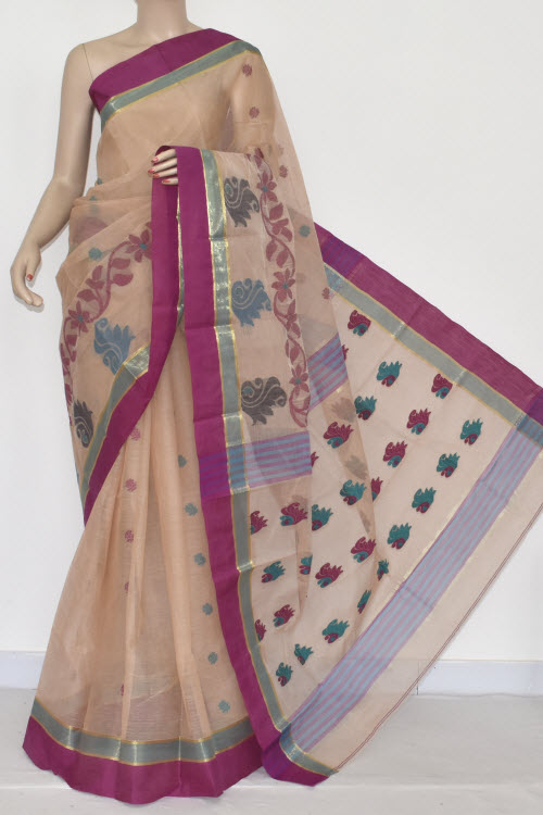 Fawn Handwoven Bengali Tant Cotton Saree (Without Blouse) Magenta Border 17037
