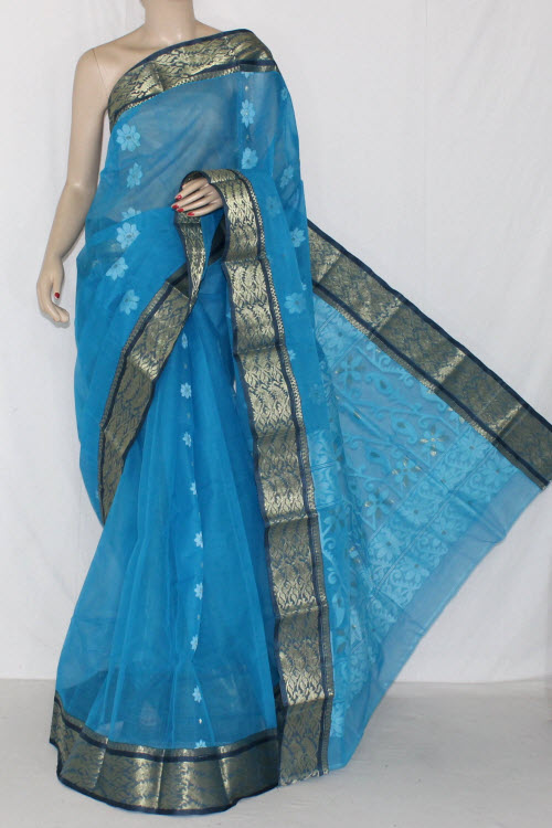 Pherozi Blue Handwoven Bengali Tant Cotton Saree (Without Blouse) Zari Border 14131