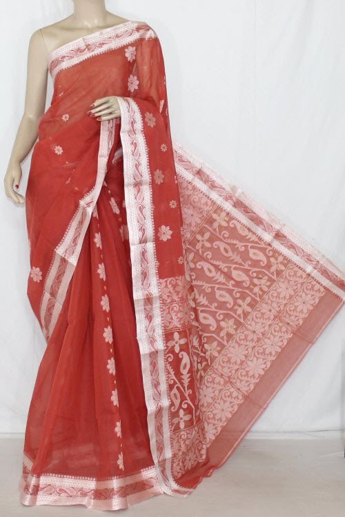 Brick White Resham BorderHandwoven Bengali Tant Cotton Thousand Booti Saree (Without Blouse) 14136