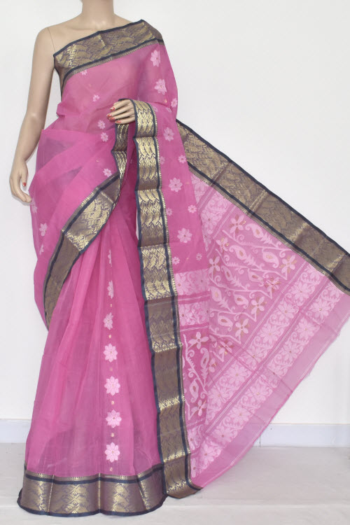 Pink Handwoven Bengali Tant Cotton Saree (Without Blouse) Zari border 14137