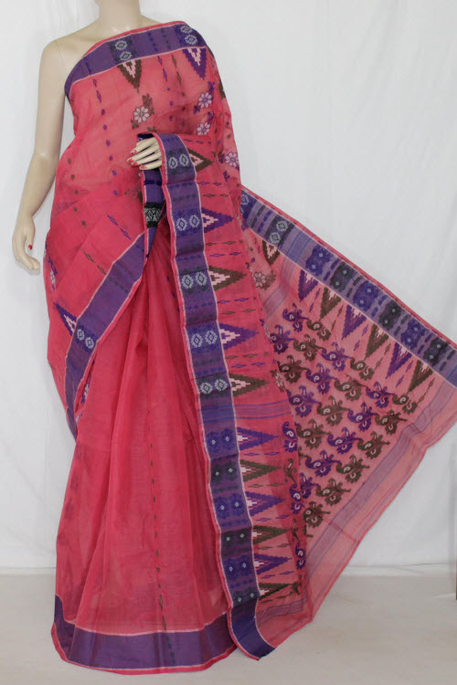 Dark Peach Handwoven Bengali Tant Cotton Saree (Without Blouse) 14154