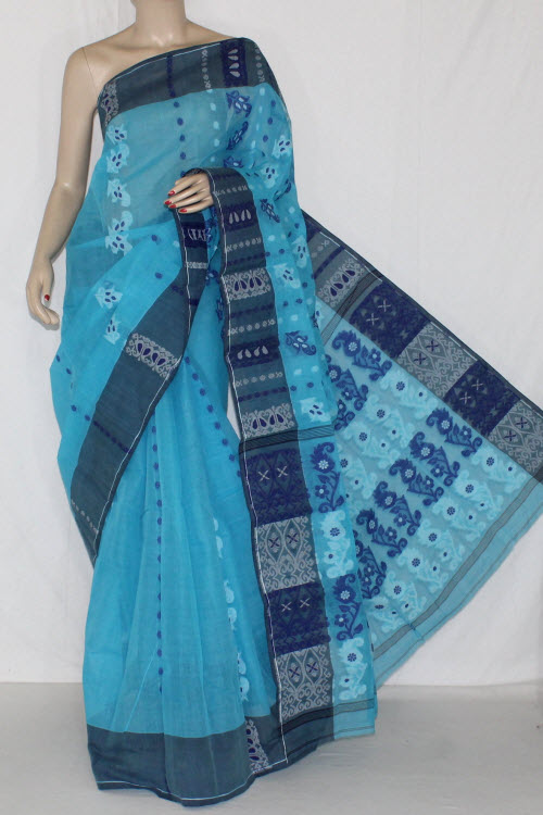Pherozi Blue Handwoven Bengali Tant Cotton Saree (Without Blouse) 14155