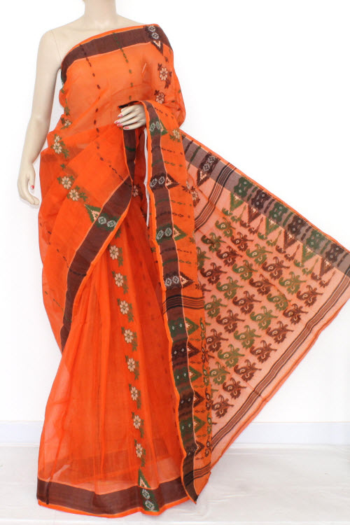 Deep Orange Handwoven Bengal Tant Cotton Saree (Without Blouse) 14157