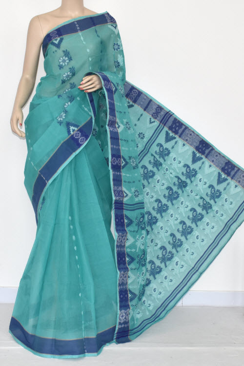 Sea Green Handwoven Bengali Tant Cotton Saree (Without Blouse) 14160