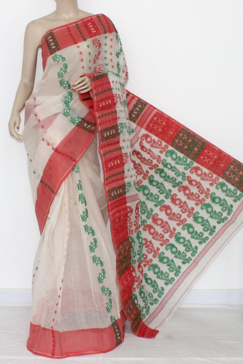 Off White Handwoven Bengal Tant Cotton Saree (Without Blouse) 14161