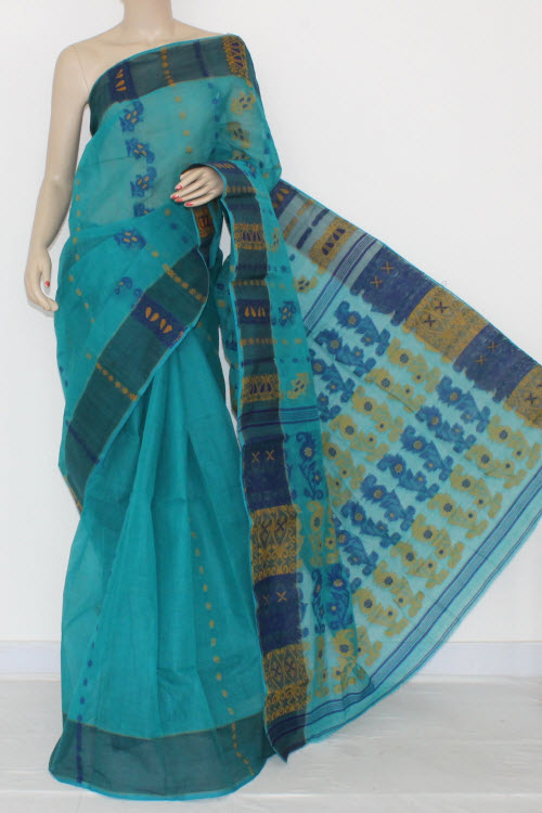 Dark Pherozi Blue Handwoven Bengal Tant Cotton Saree (Without Blouse) 14163