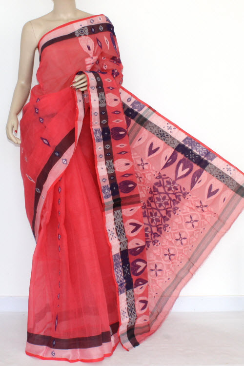 Dark Peach Handwoven Bengal Tant Cotton Saree (Without Blouse) 14176