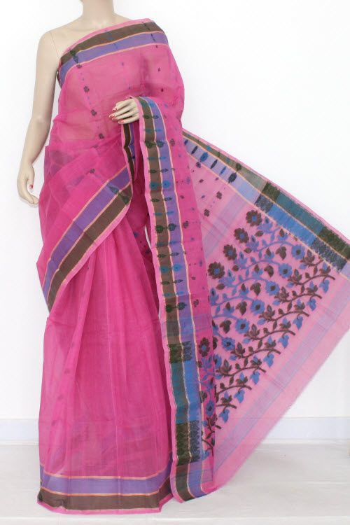 Pink Handwoven Bengali Tant Cotton Saree (Without Blouse) 14182