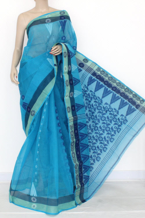 Pherozi Handwoven Bengali Tant Cotton Saree (Without Blouse) 14183