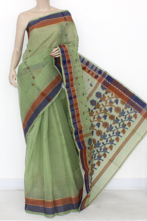 Pista Green Handwoven Bengali Tant Cotton Saree (Without Blouse) 14184