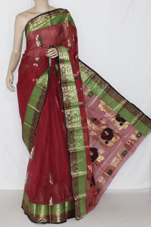 Dull Maroon Handwoven Bengali Tant Cotton Saree (Without Blouse) Zari Border 14193