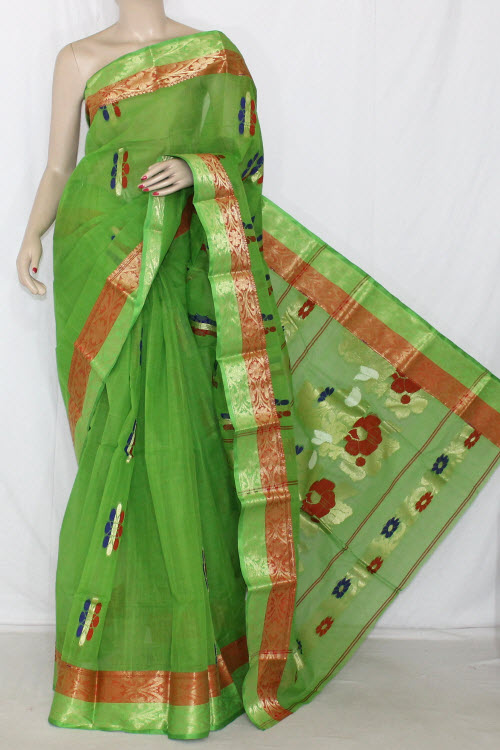 Parrot Green Handwoven Bengali Tant Cotton Saree (Without Blouse) Zari Border 14194