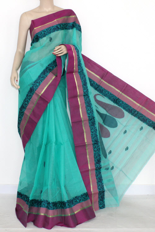 Sea Green Handwoven Bengal Tant Cotton Partywear Saree (With Blouse) 14199