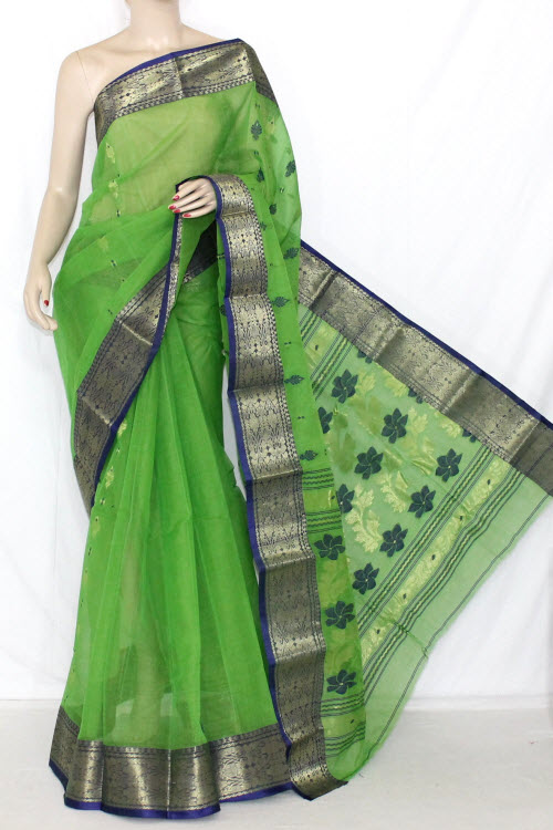 Parrot Green Blue Handwoven Bengali Tant Cotton Saree Zari Border (Without Blouse) 14204