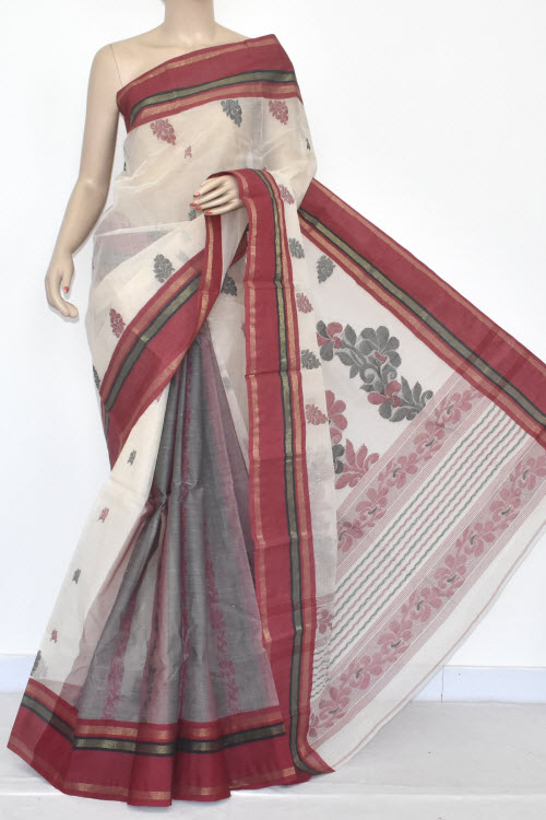 Off White Patli Pallu Handwoven Bengali Tant Cotton Saree (With Blouse) Red Border 14210