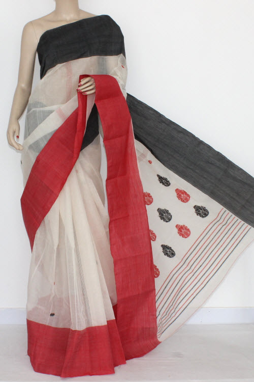 Off White Handwoven Bengal Tant Cotton Saree Ganga-Yamuna Border (Without Blouse) 14213