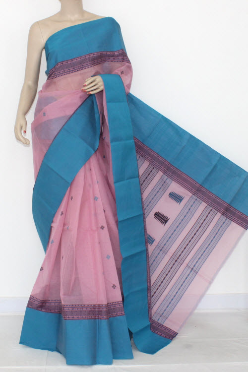 Pink Pherozi Handwoven Bengali Tant Cotton Saree (Without Blouse) 14219
