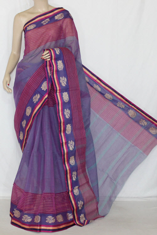 Greyish Purple Handwoven Bengali Tant Cotton Saree (Without Blouse) 14233