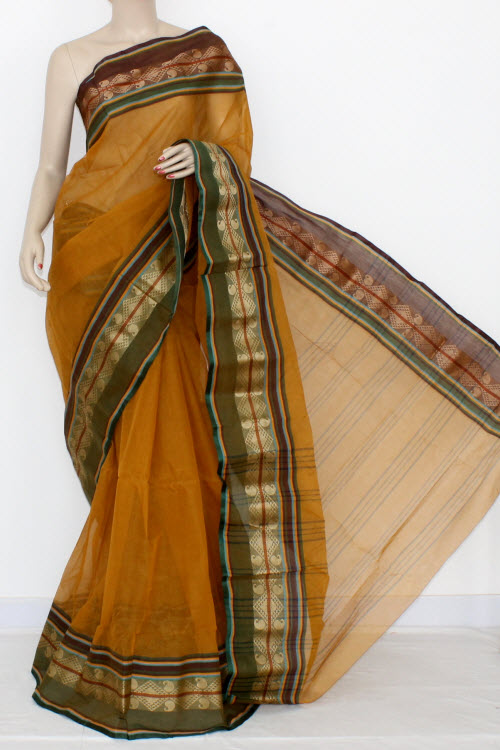 Mustared Handwoven Bengal Tant Cotton Saree (Without Blouse) 14267