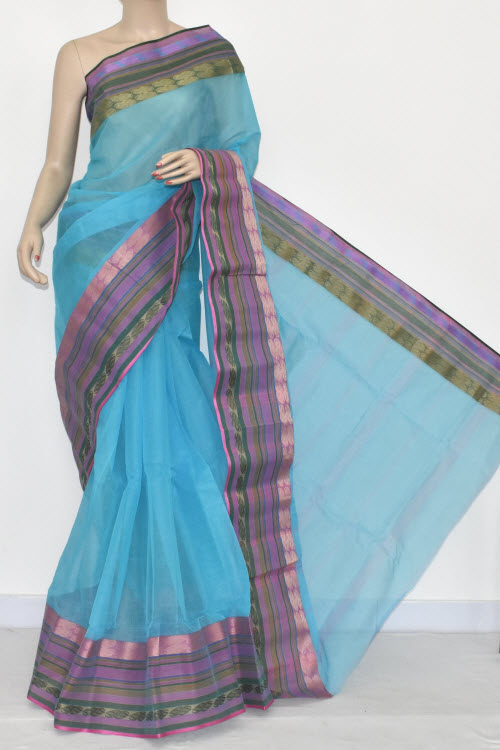 Pherozi Blue Handwoven Bengali Tant Cotton Saree (Without Blouse) 14271