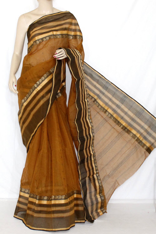 Brown Handwoven Bengali Tant Cotton Saree (Without Blouse) 14276