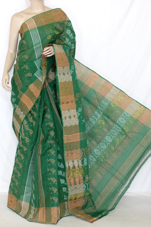 Green Handwoven Bengali Tant Cotton Saree (Without Blouse) Jamdani 14291