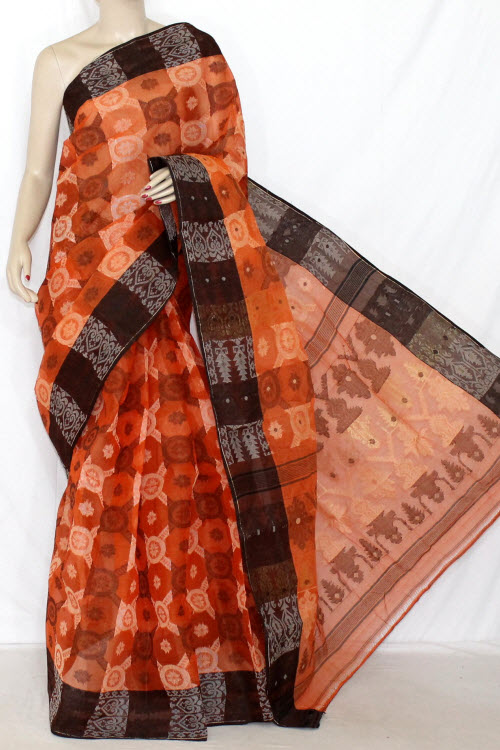 Orange Coffee Handwoven Bengali Tant Cotton Saree (Without Blouse) Jamdani 14292